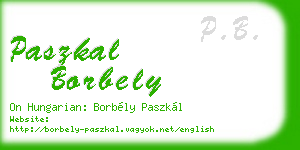paszkal borbely business card